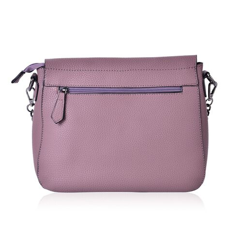 Light Mauve Colour Shoulder Bag with External Zipper Pocket and Removable Chain Strap (Size 28x23x11 Cm)