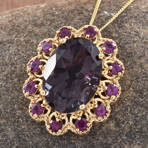 Colour Change Alexandrite Quartz  (Ovl 13.50 Ct), Purple Garnet Pendant With Chain in 14K Gold Overlay Sterling Silver 15.250 Ct. Silver wt 6.37 Gms.
