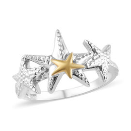 Platinum and Yellow Gold Overlay Sterling Silver Star Ring, Silver wt 3.50 Gms