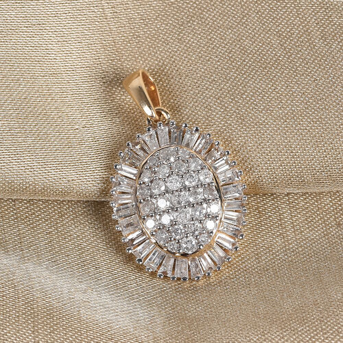9K Yellow Gold SGL Certified Diamond (I3/G-H) Cluster Pendant 1.00 Ct.