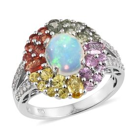 5 Ct Ethiopian Opal and Orange Sapphire with Multi Gemstones Halo Ring in Sterling Silver 5.36 Gms