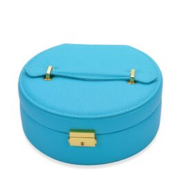 Blue Colour Two Tier Jewellery Box With Mirror Inside (Size  20x19x8.5 Cm)
