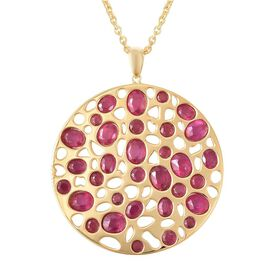 RACHEL GALLEY African Ruby (Ovl and Rnd) Pendant With Chain (Size 30) in Yellow Gold Overlay Sterlin
