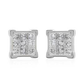 ILIANA 18K White Gold IGI Certified Diamond (Sqr) (SI /G-H) Stud Earrings (With Screw Back) 0.500 Ct.