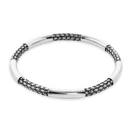 Monster Deal- One Time Close Out Deal - Sterling Silver Woven Bangle (Size 8.25), Silver wt 23.95 Gm