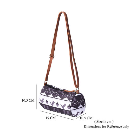 Black and White Stripe Print Crossbody Bag (19x10.5x10.5cm)