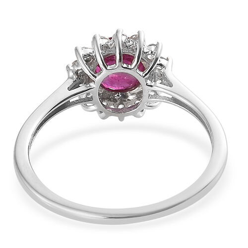 WEBEX- 9K White Gold African Ruby (Rnd 1.35 Ct), Natural Cambodian Zircon Ring 1.650 Ct.
