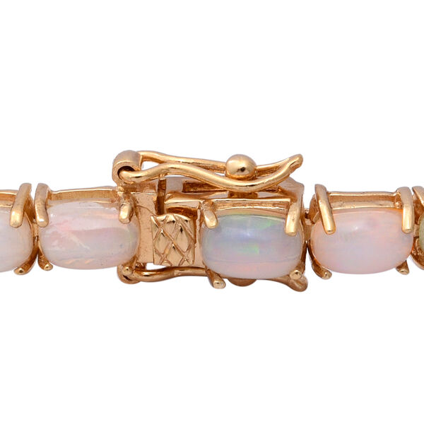 Ethiopian Welo Opal (Cush) Bracelet (Size 7.5) in Yellow Gold Overlay Sterling Silver 11.69 Ct, Silver wt 8.40 Gms