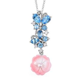 Jardin Collection - Pink Mother of Pearl, Freshwater Pearl, Swiss Blue Topaz and Natural White Cambo