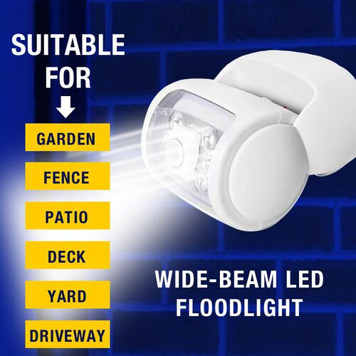 Rotating Wireless LED Porch Light with Built-in Motion and Photo Sensor and Three Light Modes (Size 14x14x14.3 Cm) - White (4xAA Battery not Included)