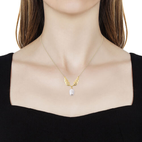 RACHEL GALLEY Freshwater White Pearl Lattice Feather Drop Necklace (Size 24) in Yellow Gold Overlay Sterling Silver