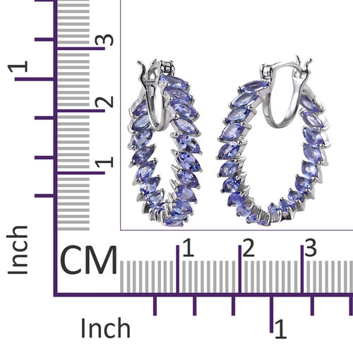 One Time Deal-Tanzanite (Mrq) Hoop Earrings (with Clasp) in Platinum Overlay Sterling Silver 6.000 Ct. Silver wt 6.01 Gms.