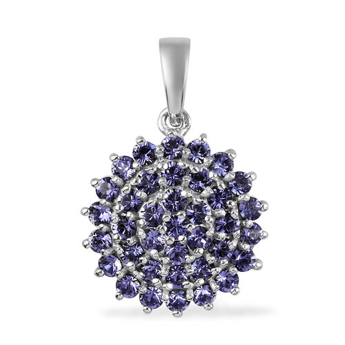 J Francis Crystal from Swarovski Tanzanite Colour Crystal Cluster Pendant in Bronze and Platinum Ove