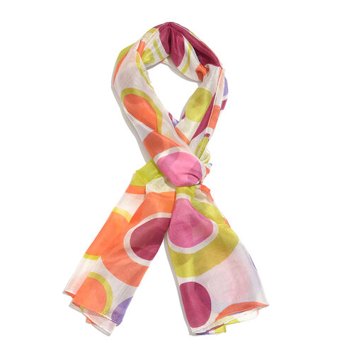 100% Mulberry Silk Pink, Yellow and Multi Colour Handscreen Circle Printed Scarf (Size 170X50 Cm)