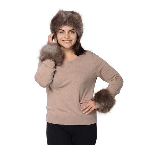 2 Piece Set - Faux Fur Headband (Size 10.2x55.9 Cm) and Wrist Warmer (Size 10.2x20.3 Cm) - Grey