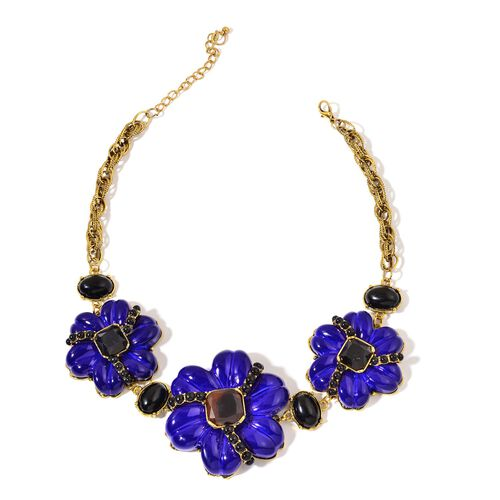 Blue and Black Colour Floral Necklace (Size 20 with 2 inch Extender) in Yellow Gold Tone