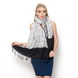 100% Merino Wool White Colour Mystic Sequins Embroidered Black Colour Scarf with Fringes at the Bott