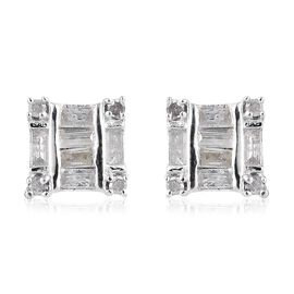Diamond (Bgt and Rnd) Earrings (with Push Back) in Platinum Overlay Sterling Silver 0.330 Ct.