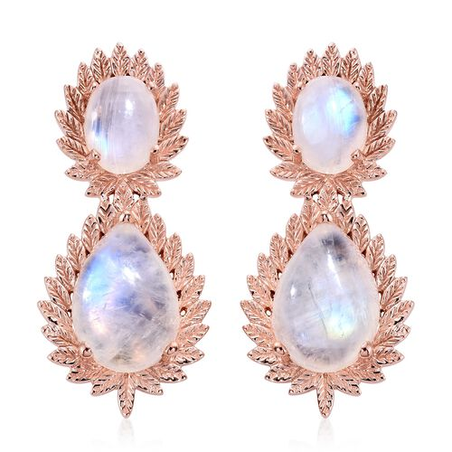 Designer Inspired-Sri Lankan Rainbow Moonstone (Pear) Tear Drop Earrings (with Push Back) in Rose Gold Overlay Sterling Silver 17.250 Ct. Silver wt 7.51 Gms.