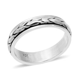 Royal Bali Diamond Cut Texture Band Ring in Sterling Silver