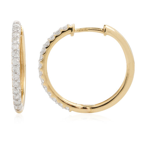 New York Close Out - 14K Yellow Gold Diamond (Rnd) (I2/G-H) Hoop Earrings (with Clasp Lock) 0.500 Ct.