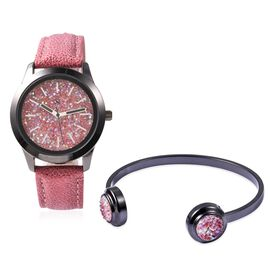 2 Piece Set - STRADA Japanese Movement Water Resistant Simulated Red AB Crystal Watch and Cuff Bangl