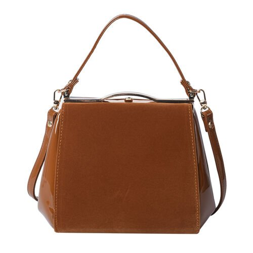 BOUTIQUE COLLECTION Brown Satchel Bag with Detachable Shoulder Strap and Top Handle (Size 24x11x19 C
