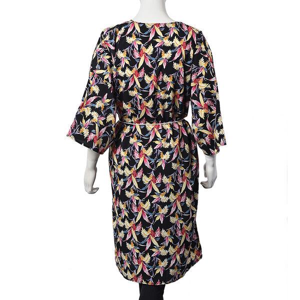 Floral Paradise Midi Wrap Dress; 100% Polyester Fabric - Size S/M  - Black/Multi Colour