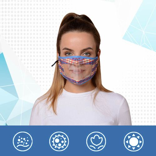 Multi Colour Transparent Face Mask (Size 14x20x29 Cm) - Yellow, Blue and Red