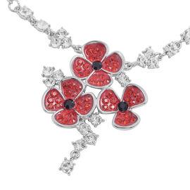 TJC Poppy Design -Multi Austrian Crystal Enamelled  Poppy Neckalce (Size 20 with 3 inch Extender) in