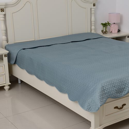King Size Luxury Satin Quilt with Geometrical Embroidery and Scalopped Edges in Mermaid Blue Colour