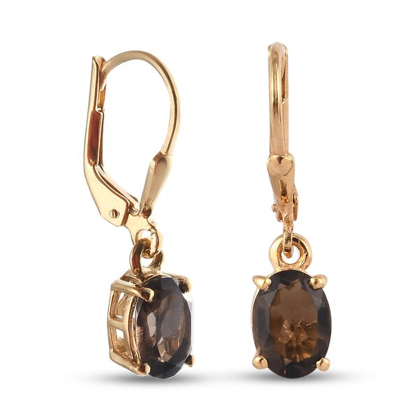 MP AA Brazilian Smoky Quartz (Ovl) Lever Back Earrings in 14K Gold Overlay Sterling Silver 2.270 Ct.