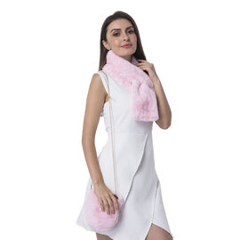 Ultra Soft Faux Fur Handbag and Scarf Set - (Bag size: 20x22cm) - Pink