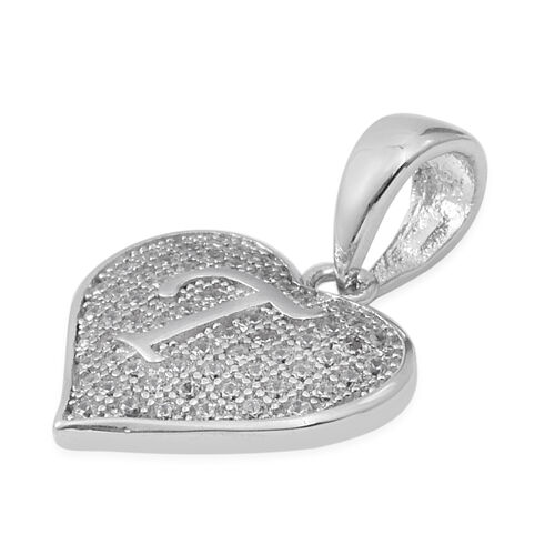 ELANZA Simulated Diamond (Rnd) Heart with Initial T Pendant in Rhodium Overlay Sterling Silver