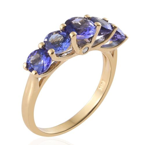 Exclusive Edition ILIANA 18K Yellow Gold AAA Tanzanite (Rnd), Diamond Ring 2.500 Ct. Gold Wt. 3.10 Gram