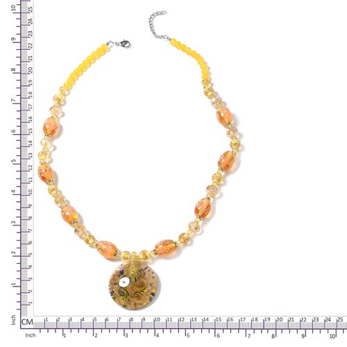 Yellow Murano Style Glass and Simulated Champagne and Simulated Citrine Beads Necklace (Size 28) in Silver Plated