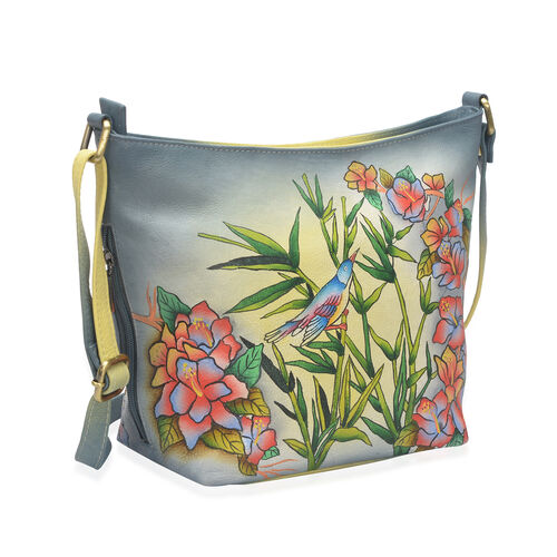 SUKRITI - 100% Genuine Leather Multi Colour Bird and Floral Handpainted Hobo Bag with External Zipper Pocket and Adjustable Shoulder Strap (Size 30x23x10 Cm)