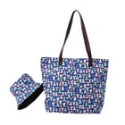 Blue and Multi Colour Cats Pattern Tote Bag with Zipper Closure (45x12x35cm) with FREE Matching Hat