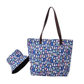 2 Piece Set - Blue and Multi Colour Cats Pattern Tote Bag with Zipper Closure (45x12x35cm) and Match