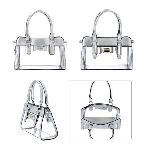 2 Piece Set - Metallic Silver Colour Bowknot Satchel Bag (Size 28x12x16cm) with Zipper Closure and Pouch Bag (Size 20x7x15cm)