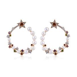GP Freshwater Pearl and Multi Gemstones Hoop Earrings in Gold Plated Silver 6.96 Gms