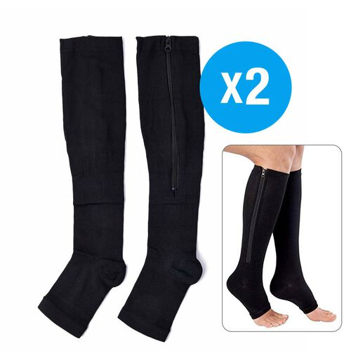Pack of 2 Pairs Compression Zipper Socks (Size S/M - 5 to 8) - Black