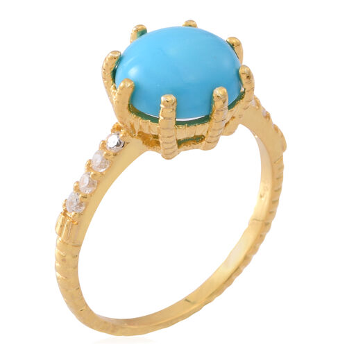 Arizona Sleeping Beauty Turquoise (Rnd 3.00 Ct), Natural White Cambodian Zircon Ring in Yellow Gold Overlay Sterling Silver 3.250 Ct.