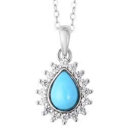 Arizona Sleeping Beauty Turquoise (Pear 7x5 mm), Natural White Cambodian Zircon Pendant With Chain i