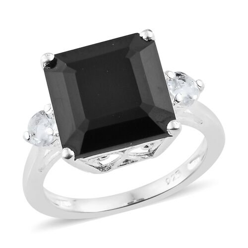 Boi Ploi Black Spinel (Oct 11x11 mm, 7.35 Ct), White Topaz Ring in Sterling Silver 7.750 Ct.