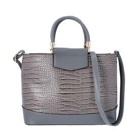 Grey Croc Embossed Tote Bag with Adjustable Shoulder Strap (Size 34x12x25 Cm)