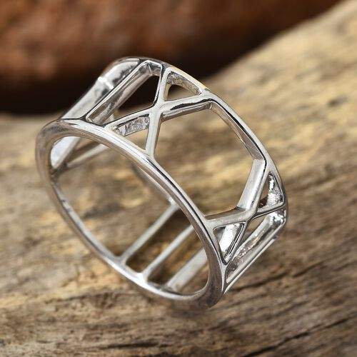 Platinum Overlay Sterling Silver Roman Number Inspired Band Ring