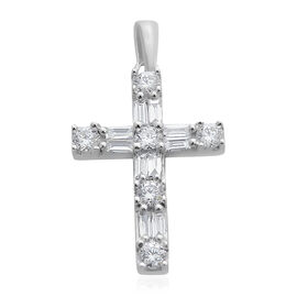 ILIANA 18K White Gold IGI Certified Diamond (Rnd and Bgt) (SI /G-H) Latin Cross Pendant 0.500 Ct.