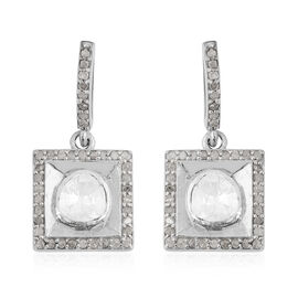 Natural Polki Diamond Earrings in Platinum Overlay Sterling Silver 1.20 ct.