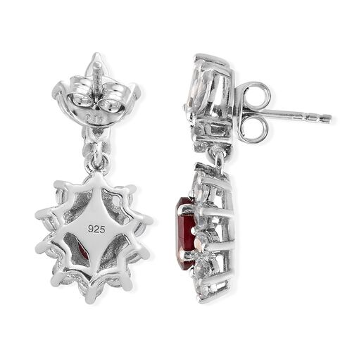 African Ruby (Ovl), White Topaz Earrings (with Push Back) in Platinum Overlay Sterling Silver 4.750 Ct.